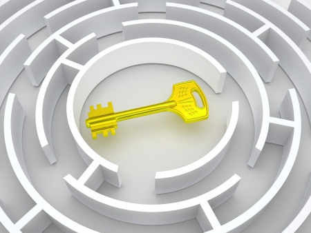 lockout: Key to labyrinth. 3d Stock Photo