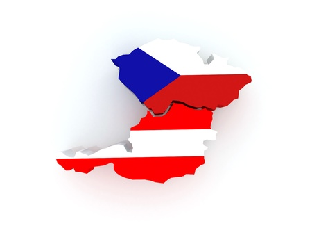 Map of Austria and Czech Republic. 3d photo