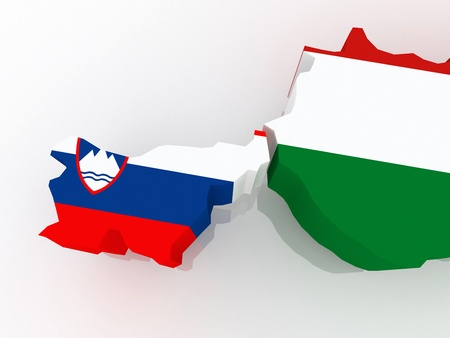 Map of Slovenia and Hungary. 3d photo