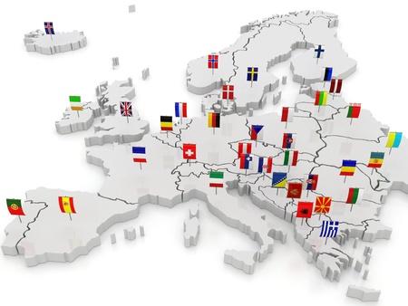 ヨーロッパの 3次元地図。3 d 写真素材