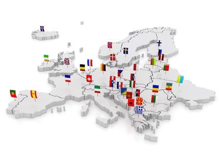 drie-dimensionale kaart van Europa. 3d Stockfoto