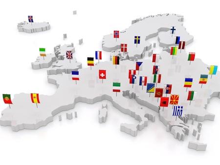 mapa de europa: mapa tridimensional de Europa. 3d