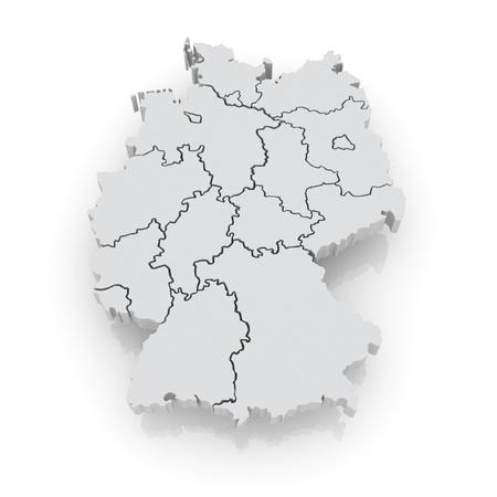 Three-dimensional map of Germany. 3d Foto de archivo