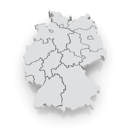 Three-dimensional map of Germany. 3d Stock Photo