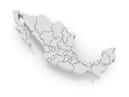 メキシコの 3次元地図。3 d