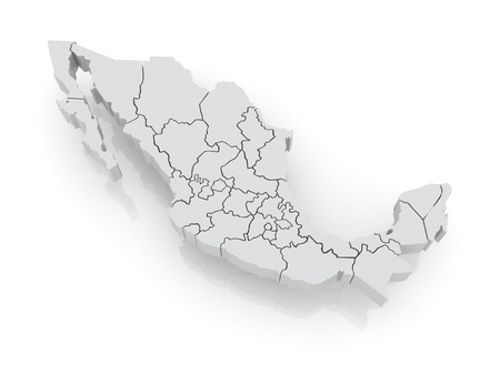 Three-dimensional map of Mexico. 3d Фото со стока