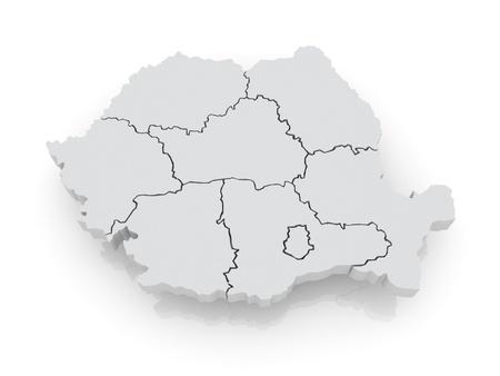 romania: Three-dimensional map of Romania. 3d