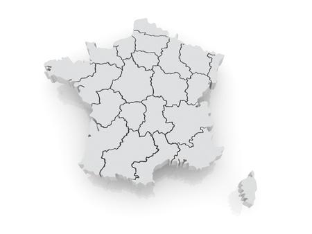 Three-dimensional map of France. 3d Standard-Bild