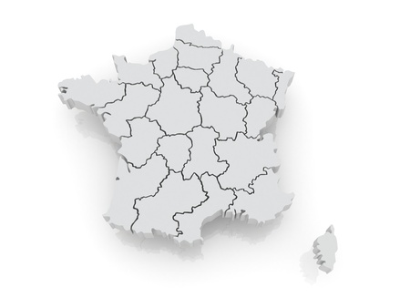 Three-dimensional map of France. 3d Stock Photo