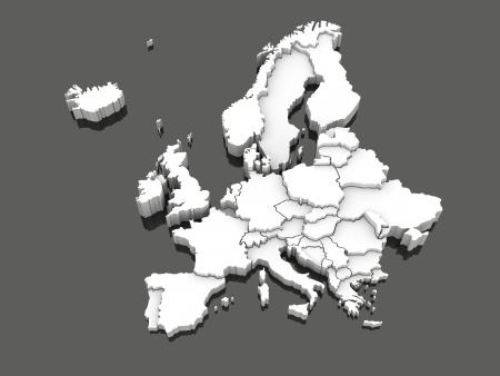 유럽의 3 차원지도입니다. 3D