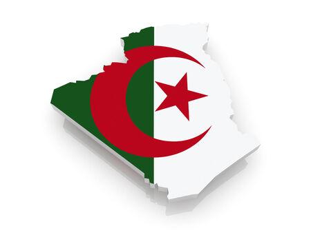 algeria: Map of Algeria. 3d