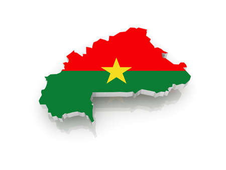 burkina faso: Map of Burkina Faso. 3d