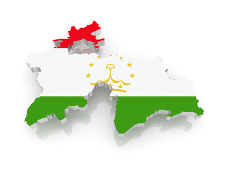 Map of Tajikistan. 3d photo