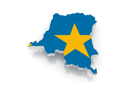 republic of the congo: Map of Democratic Republic of Congo. 3d