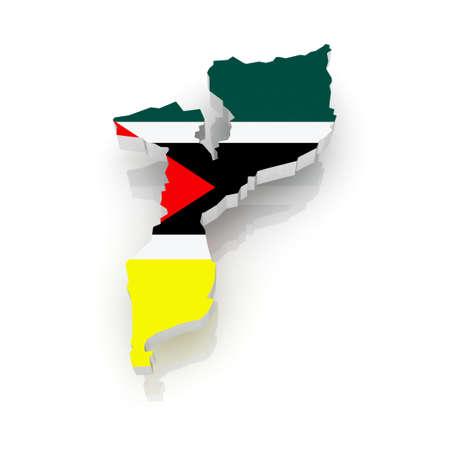 Mozambique: Map of Mozambique. 3d