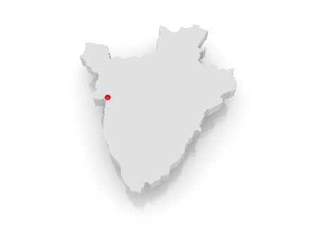 Map of Burundi. 3d photo