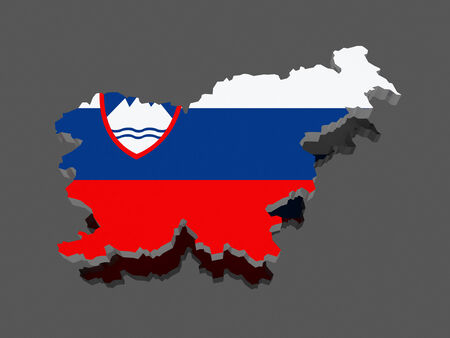 Map of Slovenia. 3d Stock Photo
