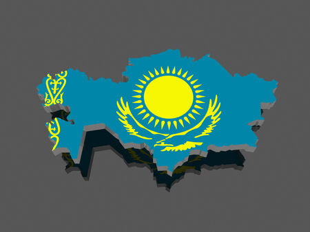 Map of Kazakhstan. 3d photo