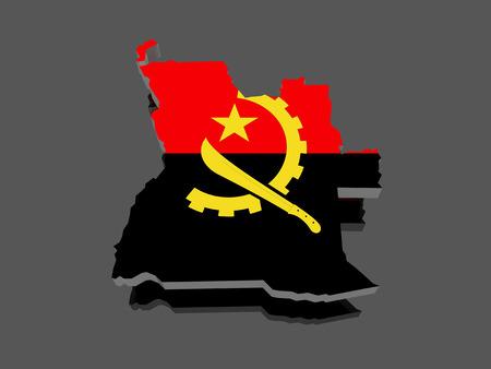 map of angola: Map of Angola. 3d