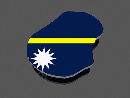 nauru: Map of Nauru. 3d