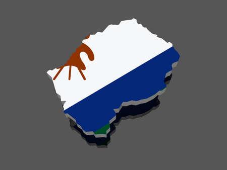 lesotho: Map of Lesotho. 3d
