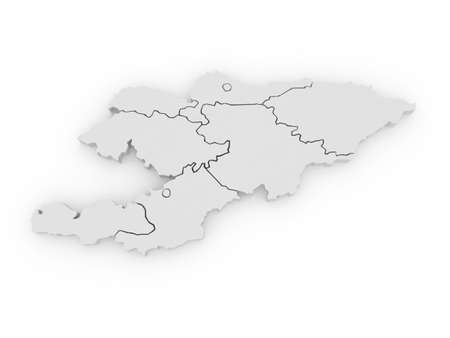 kyrgyzstan: Map of Kyrgyzstan. 3d
