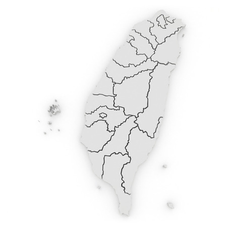 Map of Taiwan. 3d