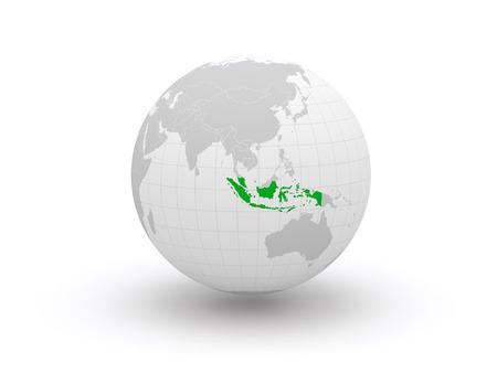 Globe. 3d. Indonesia.  Фото со стока