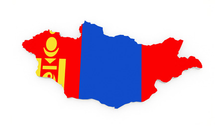 mongolia: Map of Mongolia. 3d Stock Photo