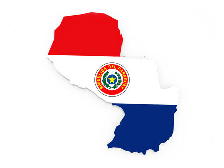 paraguay: Map of Paraguay. 3d