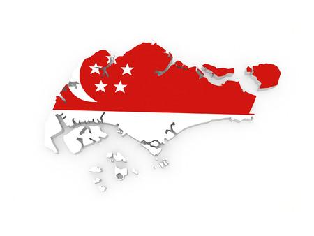Map of Singapore. 3d Standard-Bild