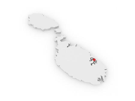 malta: Map of Malta. 3d