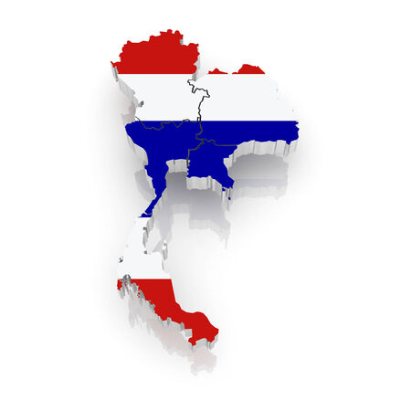 Map of Thailand. 3d Stock Photo