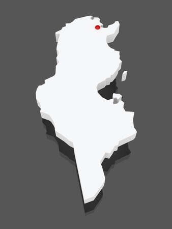 tunisia: Map of Tunisia. 3d