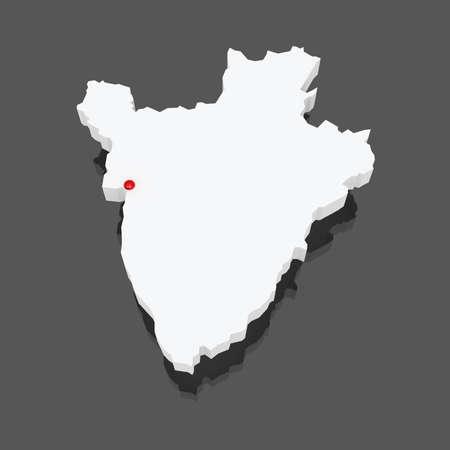 Map of Burundi. 3d photo