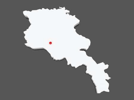 armenia: Map of Armenia. 3d Stock Photo