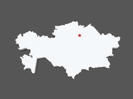 kazakhstan: Map of Kazakhstan. 3d