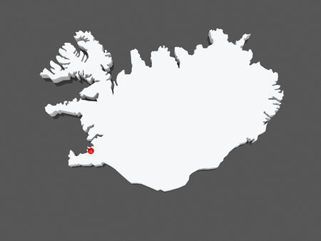 iceland: Map of Iceland. 3d