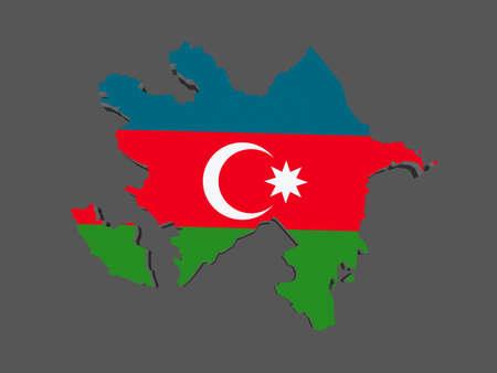 azerbaijan: Map of Azerbaijan. 3d Stock Photo