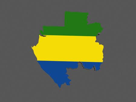 gabon: Map of Gabon. 3d
