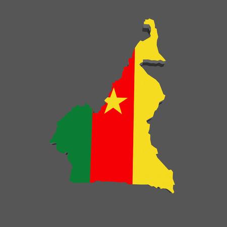 cameroon: Mappa del Camerun. 3d