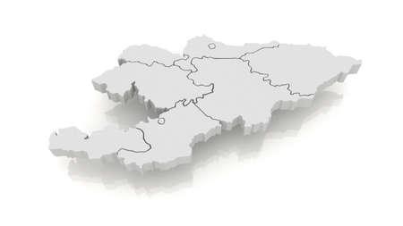 kyrgyzstan: Mapa de Kirguist�n. 3d