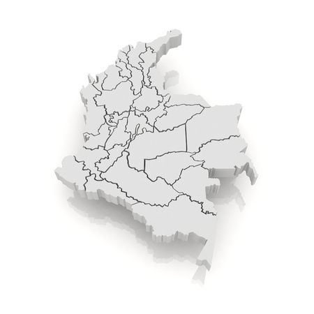 Map of Columbia. 3d Stock Photo