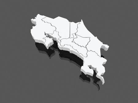 costa: Map of Costa Rica. 3d Stock Photo