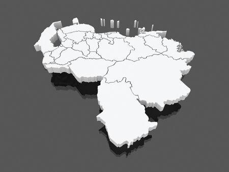 mapa de venezuela: Mapa de Venezuela. 3d Foto de archivo