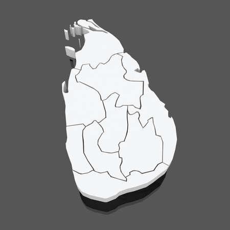 lanka: Map of Sri Lanka. 3d Stock Photo