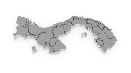 panama: Map of Panama. 3d