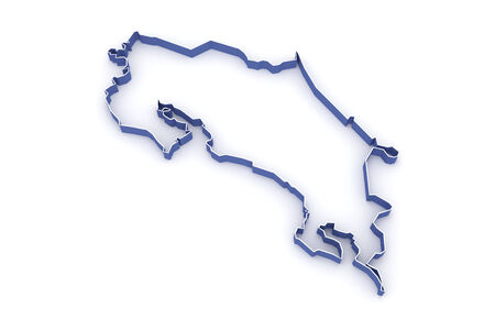 Map of Costa Rica. 3d Stock Photo