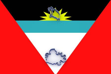antigua and barbuda: Map of Antigua and Barbuda. 3d Stock Photo