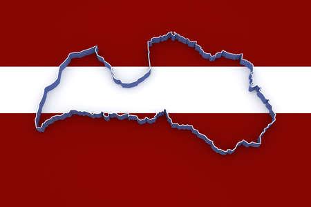 latvia: Map of Latvia. 3d